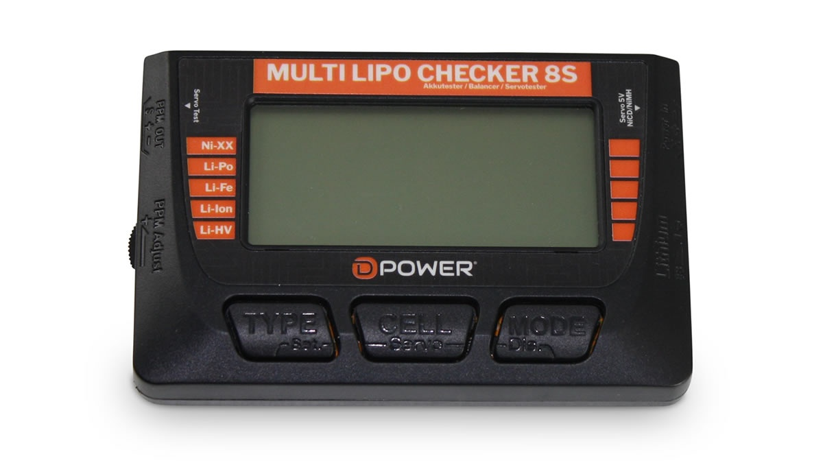 D-Power Multi Lipo Checker 8S / Balancer / Servotester