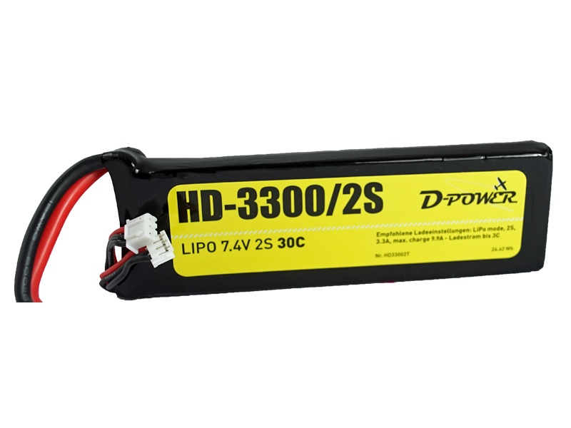 D-Power HD-3300 2S Lipo (7,4V) 30C - T-Stecker