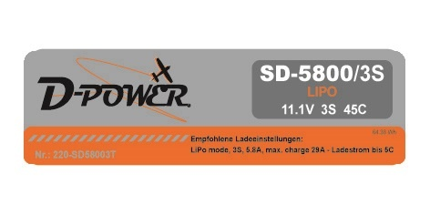 D-Power SD-5800 3S Lipo (11,1V) 45C - mit T-Stecker