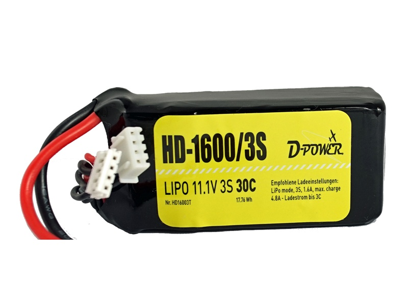 D-Power HD-1600 3S Lipo (11,1V) 30C - T-Stecker