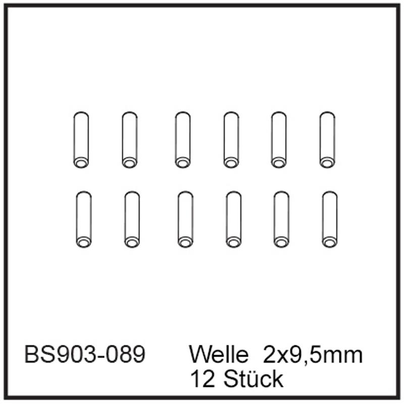 Welle  2x9,5mm (12 Stück) - BEAST BX / TX