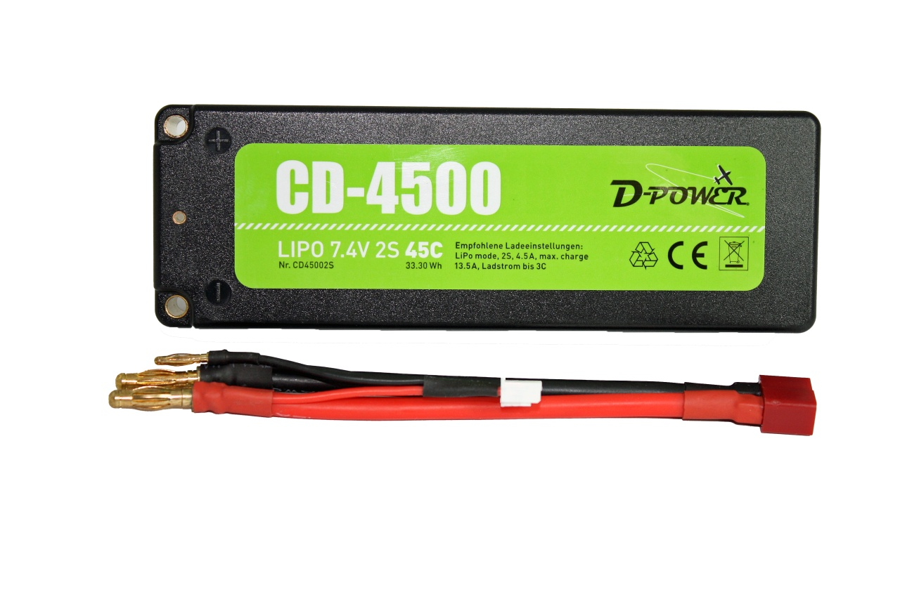 D-Power CD-4500/2S Lipo 7.4V 2S 45C mit T-Stecker