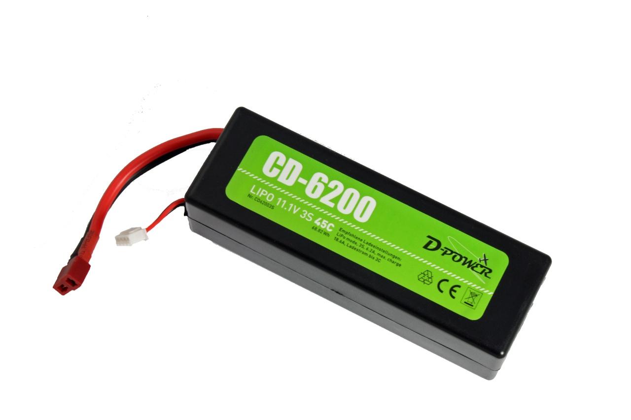 D-Power CD-6200/3S Lipo 11.1V 3S 45C mit T-Stecker