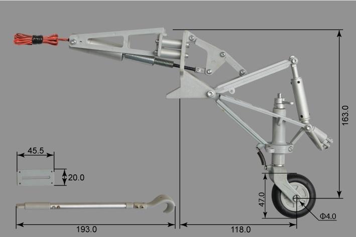 Phoenix elektrisches Einziehfahrwerk 2-Bein 90° bis 12kg -