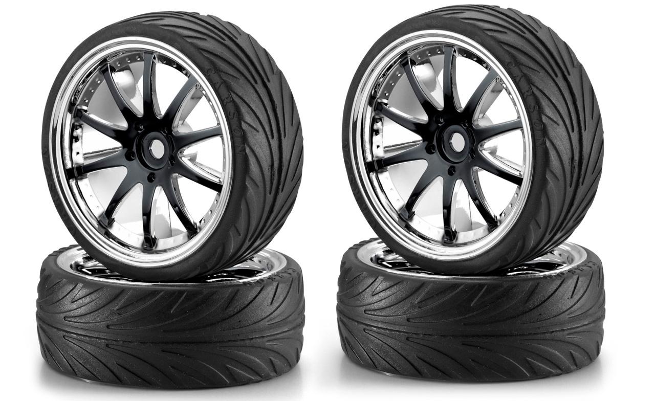 Carson 1:10 Big Wheel-Set 02 10 Speichen schwarz /chrom (4)