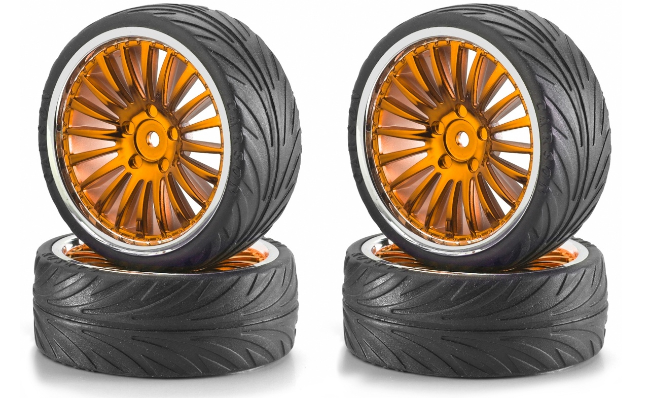 Carson 1:10 Big Wheel-Set 01 20 Speichen orange/chrom (4)
