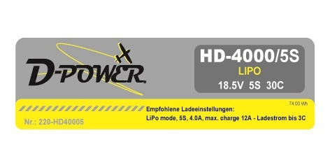D-Power HD-4000 5S Lipo (18,5V) 30C - XT-60 Stecker
