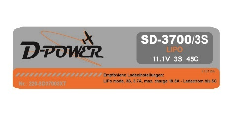 D-Power SD-3700 3S Lipo (11,1V) 45C - mit XT-60 Stecker