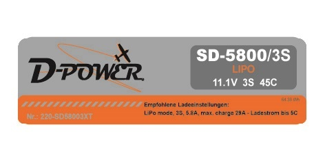 D-Power SD-5800 3S Lipo (11,1V) 45C - XT-60 Stecker
