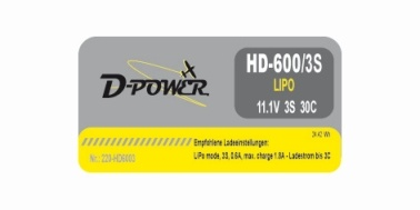 D-Power HD- 600 3S Lipo (11,1V) 30C - mit BEC Stecker