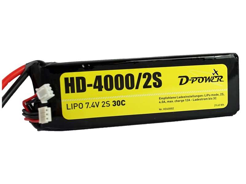 D-Power HD-4000 2S Lipo (7,4V) 30C - XT-60 Stecker