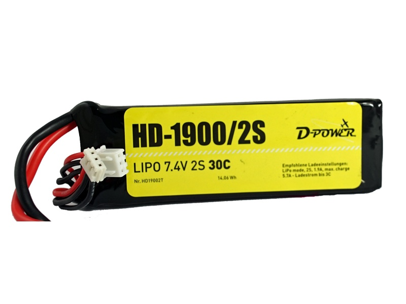 D-Power HD-1900 2S Lipo (7,4V) 30C - XT-60 Stecker