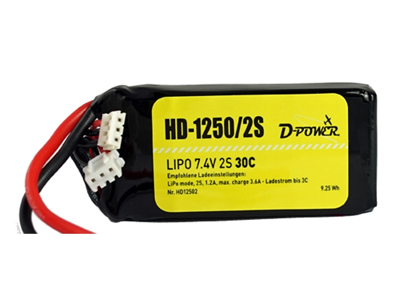 D-Power HD-1250 2S Lipo (7,4V) 30C - XT-60 Stecker