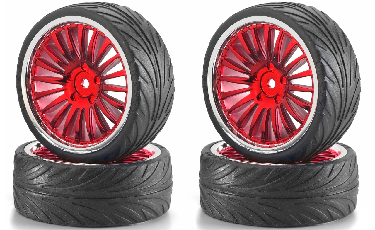 Carson 1:10 Big Wheel-Set 01 20 Speichen rot/chrom (4)