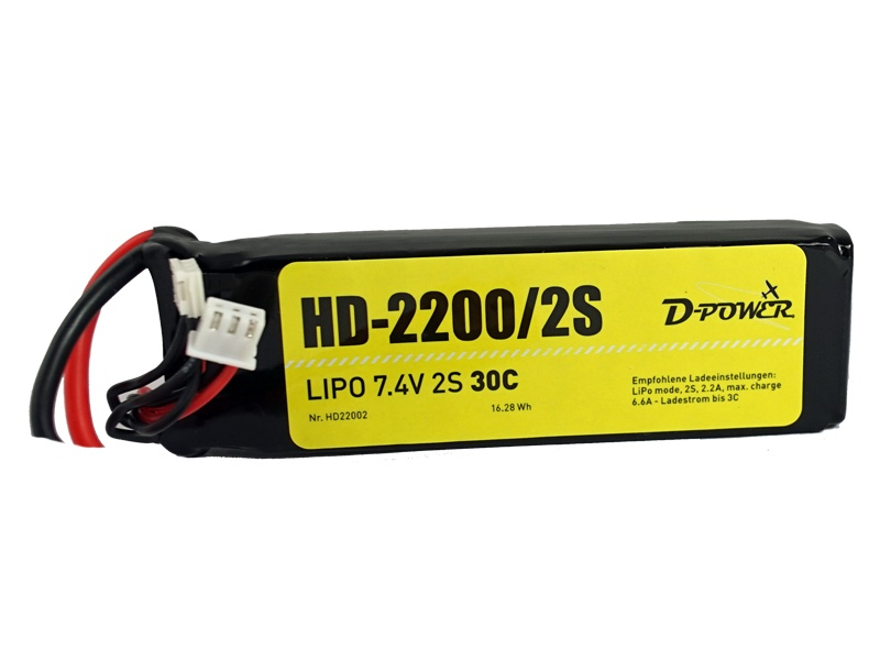 D-Power HD-2200 2S Lipo (7,4V) 30C - T-Stecker