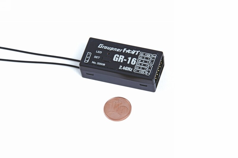 Graupner Empfänger GR-16 HoTT, 2,4 GHz, 8 Kanal