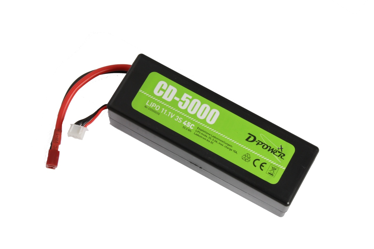 D-Power CD-5000/3S Lipo 11.1V 3S 45C mit T-Stecker