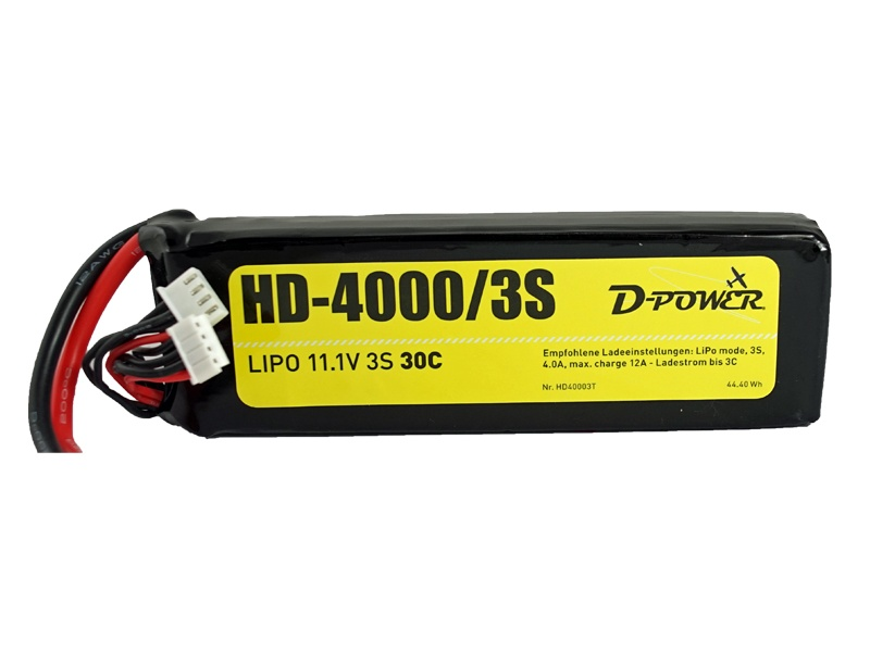 D-Power HD-4000 3S Lipo (11,1V) 30C - XT-60 Stecker