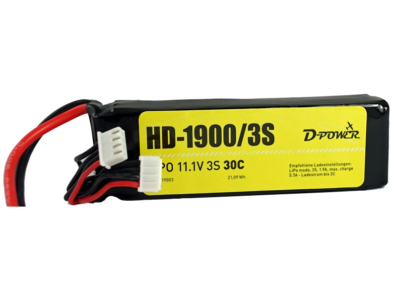 D-Power HD-1900 3S Lipo (11,1V) 30C - XT-60 Stecker