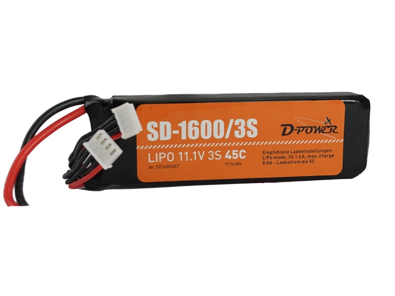 D-Power SD-1600 3S Lipo (11,1V) 45C - mit T-Stecker
