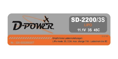 D-Power SD-2200 3S Lipo (11,1V) 45C - mit XT-60 Stecker