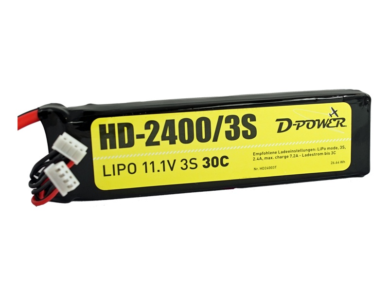 D-Power HD-2400 3S Lipo (11,1V) 30C - T-Stecker