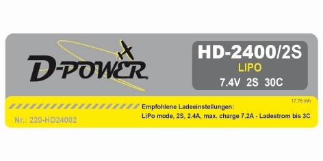 D-Power HD-2400 2S Lipo (7,4V) 30C - XT-60 Stecker