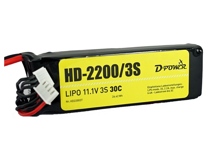 D-Power HD-2200 3S Lipo (11,1V) 30C - T-Stecker