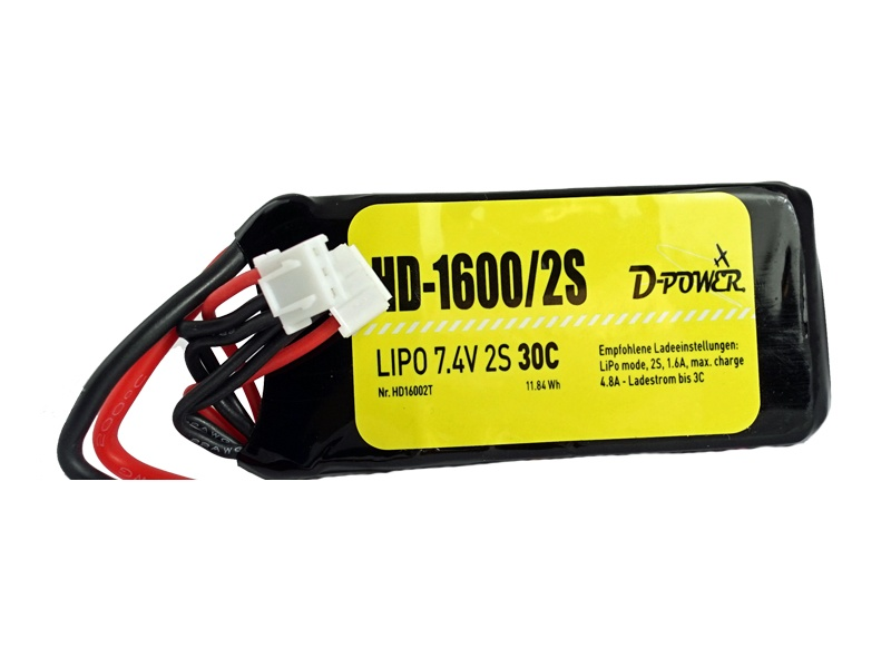 D-Power HD-1600 2S Lipo (7,4V) 30C - XT-60 Stecker