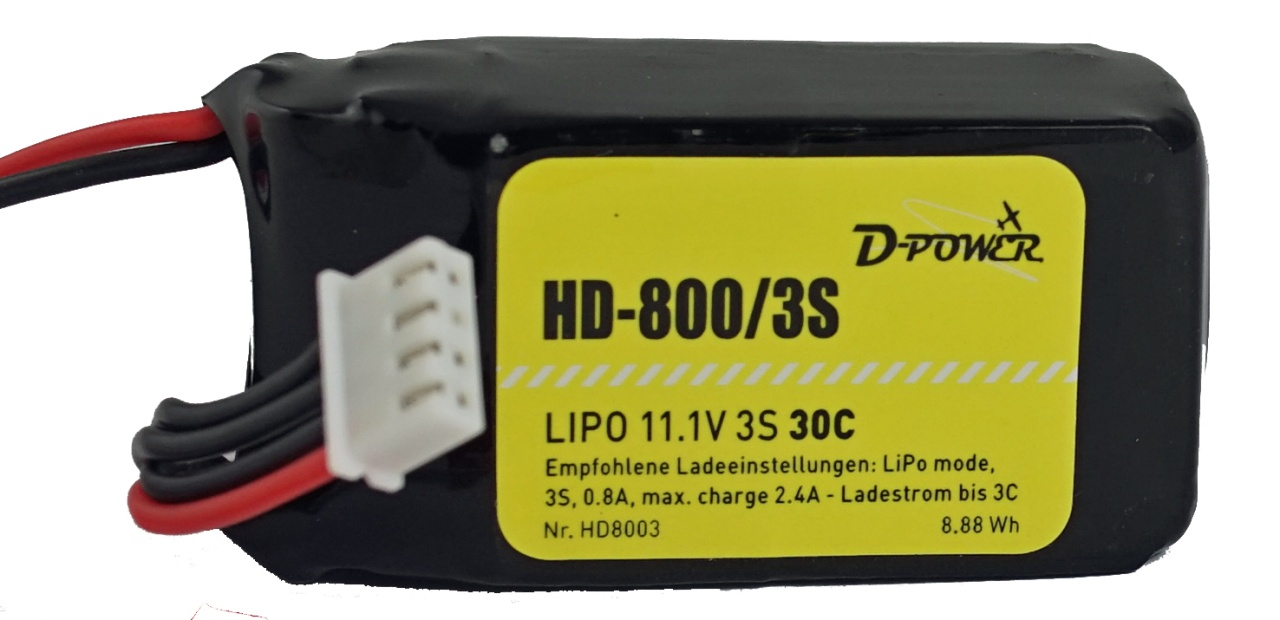 D-Power HD-800 3S Lipo (11,1V) 30C - mit BEC Stecker