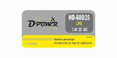 D-Power HD-600 2S Lipo (7,4V) 30C - mit BEC Stecker