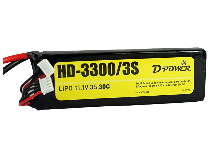 D-Power HD-3300 3S Lipo (11,1V) 30C - T-Stecker