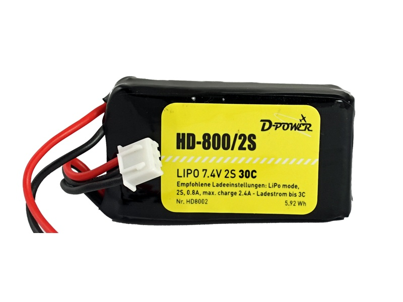 D-Power HD- 800 2S Lipo (7,4V) 30C - mit BEC Stecker