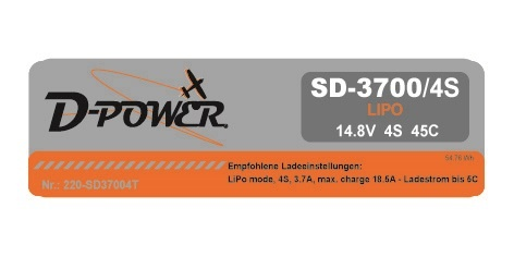 D-Power SD-3700 4S Lipo (14,8V) 45C - T-Stecker