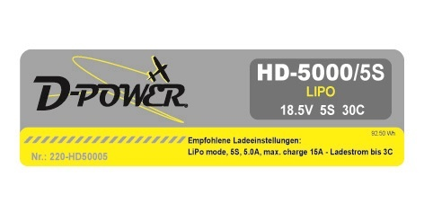 D-Power HD-5000 5S Lipo (18,5V) 30C - XT-60 Stecker