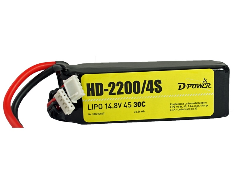 D-Power HD-2200 4S Lipo (14,8V) 30C - T-Stecker