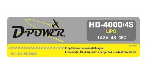 D-Power HD-4000 4S Lipo (14,8V) 30C - XT-60 Stecker