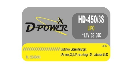 D-Power HD-450 3S Lipo (11,1V) 30C - mit BEC Stecker