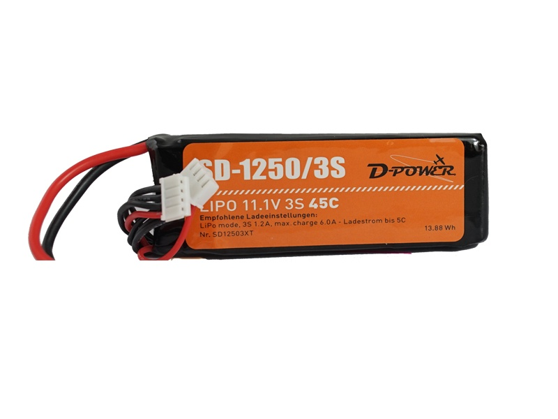 D-Power SD-1250 3S Lipo (11,1V) 45C - mit T-Stecker